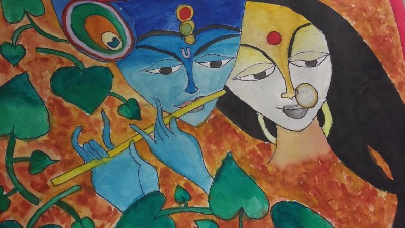 Lord Krishna and Radha, Indian Mythology, By Viha Shah, Class 4B, AVMBE