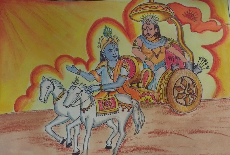 Lord Krishna with Arjuna, Mahabharata, Gita, By Ojas Marathe, Class 4C